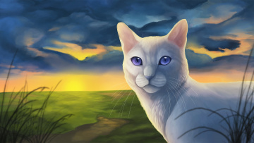 обоя рисованное, животные,  коты, кот