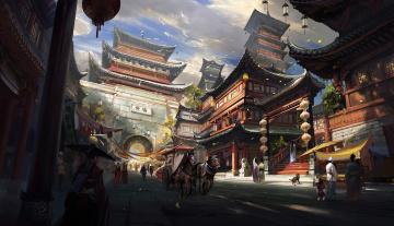 обоя рисованное, города, поднебесная, люди, повозки, пагоды, город, китай