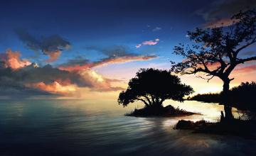 обоя рисованное, природа, небо, дерево, закат, берег, остров, море, вода, пейзаж