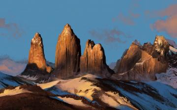 обоя рисованное, природа, скалы, снег, пейзаж, горы, небо