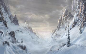 обоя рисованное, природа, горы, снег, пейзаж, вид, долина, ущелье, деревья, скалы