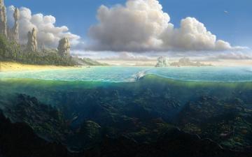 обоя рисованное, природа, океан, берег, скалы, рыбы, вода, в, разрезе, море