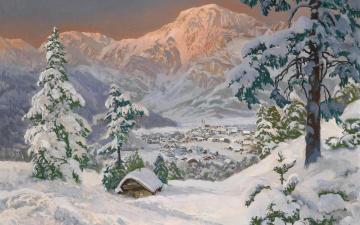 обоя рисованное, живопись, снег, горы
