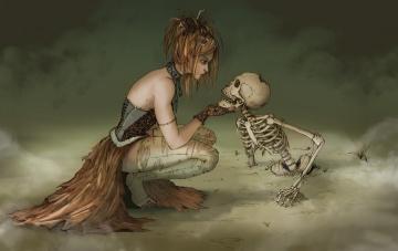 обоя рисованное, - другое, туман, скелет, witch, ведьма