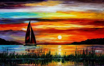 обоя рисованное, живопись, солнце, тучи, закат, парус, лодка, небо, камыш, вода