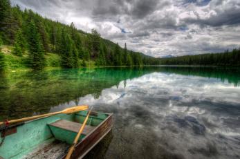 Картинка корабли лодки шлюпки лес облака канада природа