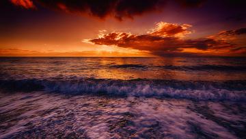 Картинка природа восходы закаты заря тучи горизонт океан