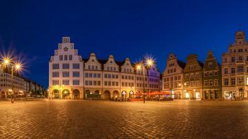 обоя города, - здания,  дома, германия, ратуша, мекленбург-передняя, померания, ночь
