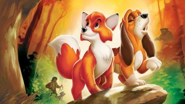 обоя the fox and the hound, мультфильмы, персонажи