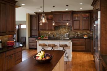 Картинка интерьер кухня плита холодильник мебель дизайн