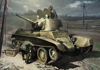 Картинка рисованное армия бт-2 танк ремонтируют