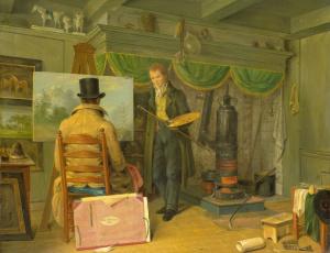 обоя рисованное, живопись, холст, интерьер, картина, масло, энтони, оберман, художник, в, своей, студии
