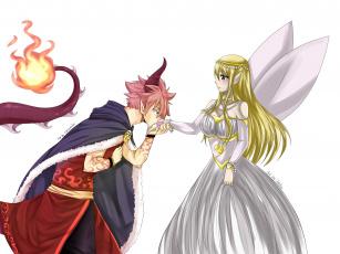 обоя аниме, fairy tail, люси, нацу