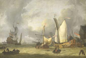 обоя рисованное, живопись, масло, jan, claesz, rietschoof, морской, пейзаж, холст, парус, картина, свежий, ветер, корабли, в, гавани