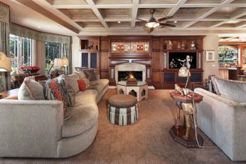 обоя интерьер, гостиная, уют, диван, камин