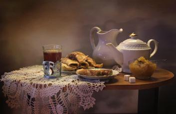 обоя еда, натюрморт, блины, варенье, чайник, чай