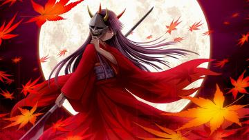 обоя аниме, оружие,  техника,  технологии, копье, рога, ёкай, кленовые, листья, маска, ветер, длинные, волосы, красные, глаза, полнолуние, кимоно