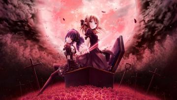 обоя аниме, unknown,  другое, вампиры, кладбище, пробуждение, полнолуние, гроб, кровавая, луна, летучие, мыши, кресты, тучи, ночь, черная, магия