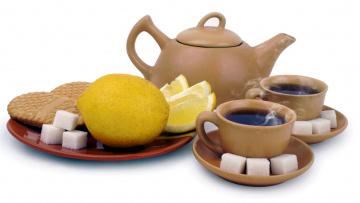 обоя еда, напитки,  Чай, лимон, печенье, сахар, заварник