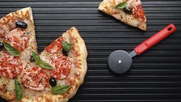 обоя еда, пицца, кусок, нож
