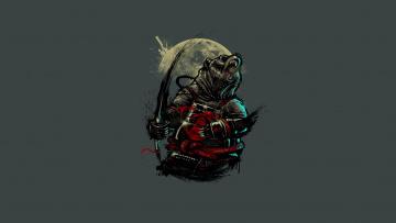 обоя рисованное, минимализм, самурай, медведь, меч, луна