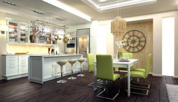 обоя интерьер, кухня, стулья, часы, люстра, стол, холодильник