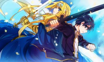 обоя аниме, sword art online, мастера, меча, онлайн