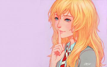 обоя аниме, shigatsu wa kimi no uso, девушка, взгляд, фон