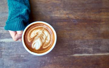 обоя еда, кофе,  кофейные зёрна, капучино