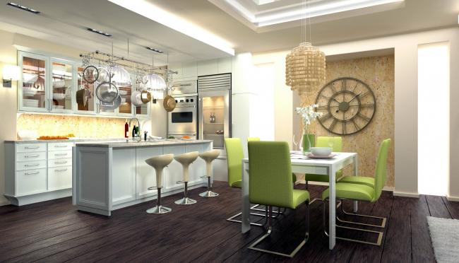 Обои картинки фото интерьер, кухня, стулья, часы, люстра, стол, холодильник
