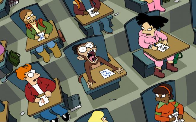 Обои картинки фото мультфильмы, futurama, аудитория, столы, люди, обезьяна