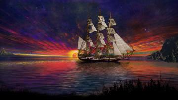 Картинка корабли 3d парусник закат море
