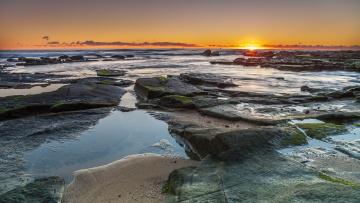 Картинка природа восходы закаты море облака горизонт тина закат отлив камни