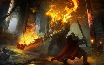 Картинка lords of the fallen видео игры огонь сражение