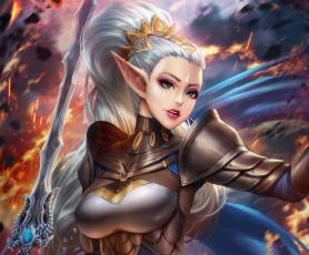 обоя фэнтези, эльфы, эльф, уши, грудь, девушка, меч, волосы, воин, красота, adalia