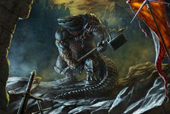 обоя фэнтези, существа, существо, молот, воин, крокодил