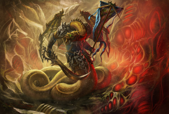 обоя фэнтези, существа, змей, оружжие, существо, пещера