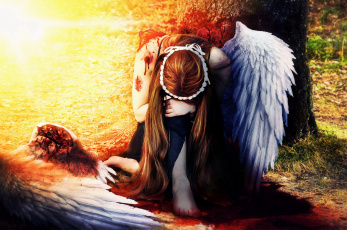 обоя фэнтези, ангелы, девушка, фон, крыло