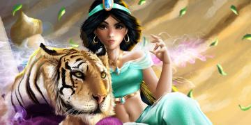обоя рисованное, кино, by, indymbras, тигр, девушка, jasmine, and, rajah, aladdin