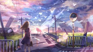 обоя аниме, животные,  существа, девушка, единорог, дорога, город, развалины, бабочи
