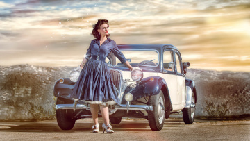 обоя автомобили, -авто с девушками, платье