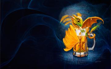 обоя фэнтези, драконы, настроение, минимализм, арт, кружка, дракончик, stanley, morrison, beer, dragon