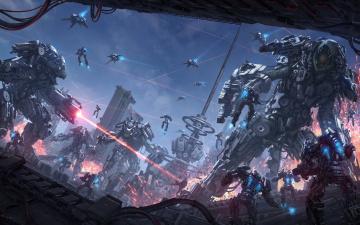 обоя фэнтези, роботы,  киборги,  механизмы, фантастика, война, башня, арт, разрушение, лазер, sci-fi