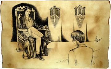обоя рисованное, кино, том, реддл, гарри, поттер, трон, свечи