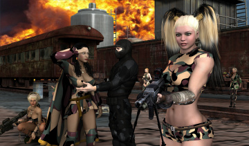 Картинка 3д+графика фантазия+ fantasy оружие ниндзя девушки взгляд фон