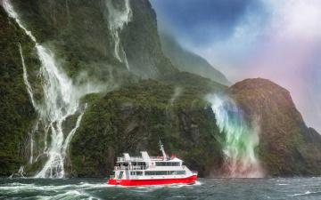 обоя корабли, теплоходы, катер, море, горы, водопад