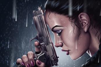 Картинка фэнтези девушки девушка дождь пистолет отчаяние
