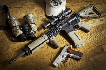 обоя оружие, штурмовая, винтовка, бинокль, bcm, ar-15, sig, p226, пистолет