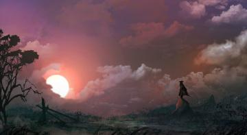 обоя фэнтези, пейзажи, скалы, закат, солнце, фигура, мужчина, дерево, шляпа