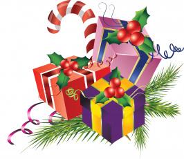 обоя праздничные, векторная графика , новый год, подарки